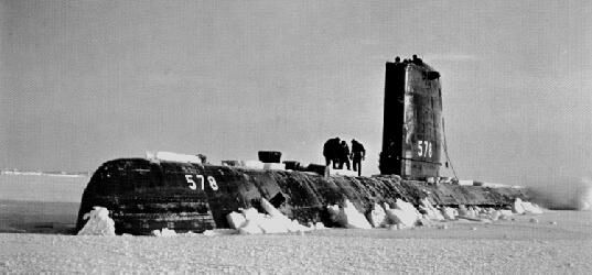 US Navy photo of US Skate Submarine surfacing at the North Pole in 1959
